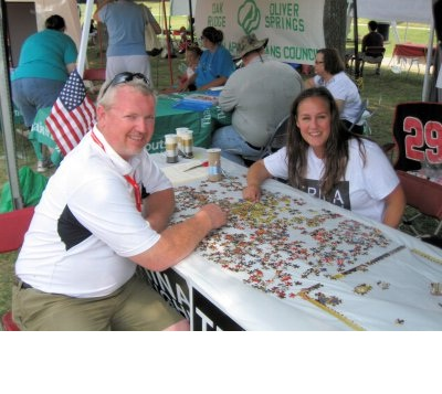 Chuck and I solving a puzzle - We are determined to run the friendliest campaign rivalry ever!